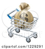 Clipart Of A Dollar Money Bag In A Shopping Cart Royalty Free Vector Illustration