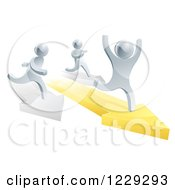 Clipart Of 3d Silver Men Racing On Arrows Royalty Free Vector Illustration