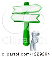 Clipart Of A 3d Silver Man Looking Up At Road Signs Royalty Free Vector Illustration