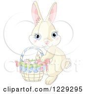 Clipart Of A Cute Beige Easter Bunny Rabbit With A Basket Of Eggs Royalty Free Vector Illustration