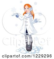 Clipart Of A Red Haired Girl Holding Her Hands Out In The Snow Royalty Free Vector Illustration by Pushkin