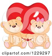 Clipart Of A Cute Teddy Bear Couple In Front Of A Valentine Heart Royalty Free Vector Illustration