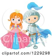 Clipart Of A Happy Fairy Tale Fantasy Princess And Knight Holding Hands Royalty Free Vector Illustration