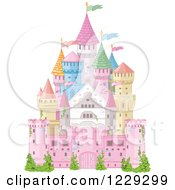 Clipart Of A Colorful Fairy Tale Castle With Flags Royalty Free Vector Illustration by Pushkin