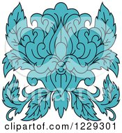 Clipart Of A Blue Floral Damask Design 2 Royalty Free Vector Illustration