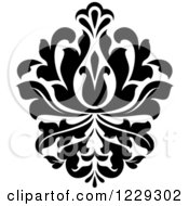 Clipart Of A Black And White Arabesque Damask Design 12 Royalty Free Vector Illustration
