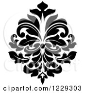 Clipart Of A Black And White Arabesque Damask Design 11 Royalty Free Vector Illustration