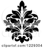 Clipart Of A Black And White Arabesque Damask Design 10 Royalty Free Vector Illustration