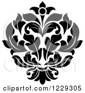 Clipart Of A Black And White Arabesque Damask Design 9 Royalty Free Vector Illustration