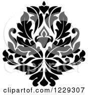 Clipart Of A Black And White Arabesque Damask Design 7 Royalty Free Vector Illustration