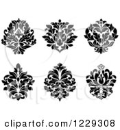 Clipart Of Black And White Arabesque Damask Designs 2 Royalty Free Vector Illustration