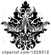 Clipart Of A Black And White Arabesque Damask Design 13 Royalty Free Vector Illustration