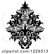 Clipart Of A Black And White Arabesque Damask Design 14 Royalty Free Vector Illustration