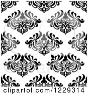 Clipart Of A Seamless Black And White Arabesque Damask Background Pattern Royalty Free Vector Illustration