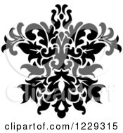 Clipart Of A Black And White Arabesque Damask Design 16 Royalty Free Vector Illustration