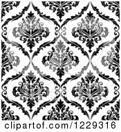 Clipart Of A Seamless Black And White Arabesque Damask Background Pattern 7 Royalty Free Vector Illustration