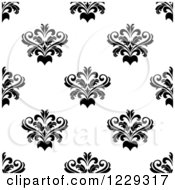 Clipart Of A Seamless Black And White Arabesque Damask Background Pattern 2 Royalty Free Vector Illustration
