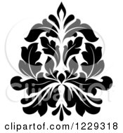 Clipart Of A Black And White Arabesque Damask Design 6 Royalty Free Vector Illustration