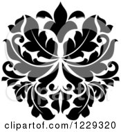 Clipart Of A Black And White Arabesque Damask Design 2 Royalty Free Vector Illustration