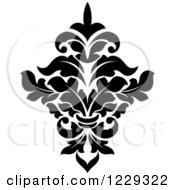 Clipart Of A Black And White Arabesque Damask Design 4 Royalty Free Vector Illustration