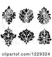 Clipart Of Black And White Arabesque Damask Designs Royalty Free Vector Illustration