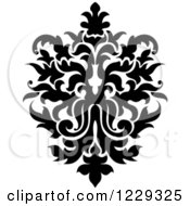 Clipart Of A Black And White Arabesque Damask Design 15 Royalty Free Vector Illustration