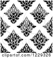 Clipart Of A Seamless Black And White Arabesque Damask Background Pattern 3 Royalty Free Vector Illustration