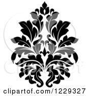 Clipart Of A Black And White Arabesque Damask Design 3 Royalty Free Vector Illustration