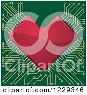Clipart Of A Red Circuit Heart Motherboard Royalty Free Vector Illustration by Vector Tradition SM
