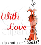 Clipart Of A Woman In A Red Dress And With Love Text Royalty Free Vector Illustration