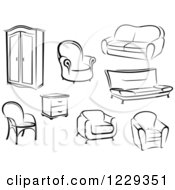 Clipart Of Black And White Furniture Royalty Free Vector Illustration