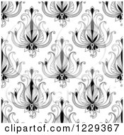 Clipart Of A Seamless Background Pattern Of Black And White Flowers Royalty Free Vector Illustration