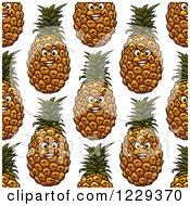 Clipart Of A Seamless Happy Pineapple Pattern Background Royalty Free Vector Illustration