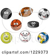 Clipart Of Happy Sports Ball Characters Royalty Free Vector Illustration