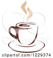 Clipart Of A Tan And Brown Steamy Coffee Cup 7 Royalty Free Vector Illustration