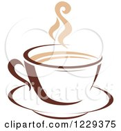 Clipart Of A Tan And Brown Steamy Coffee Cup 8 Royalty Free Vector Illustration