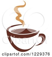 Clipart Of A Tan And Brown Steamy Coffee Cup 5 Royalty Free Vector Illustration