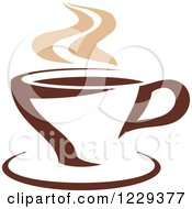 Clipart Of A Tan And Brown Steamy Coffee Cup 4 Royalty Free Vector Illustration