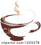 Clipart Of A Tan And Brown Steamy Coffee Cup Royalty Free Vector Illustration