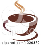 Clipart Of A Tan And Brown Steamy Coffee Cup 6 Royalty Free Vector Illustration