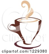 Clipart Of A Tan And Brown Steamy Coffee Cup 2 Royalty Free Vector Illustration