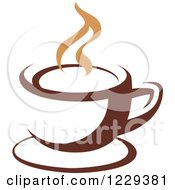 Clipart Of A Tan And Brown Steamy Coffee Cup 3 Royalty Free Vector Illustration