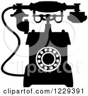 Clipart Of A Retro Black And White Desk Telephone 6 Royalty Free Vector Illustration