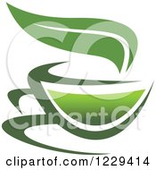 Green Tea Cup And Leaf 2