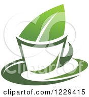 Green Tea Cup And Leaf