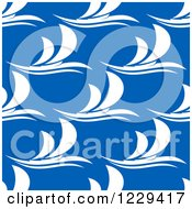 Clipart Of A Seamless Background Pattern Of Ocean Surf Waves On Blue 2 Royalty Free Vector Illustration