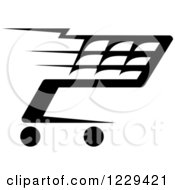 Clipart Of A Black And White Shopping Cart Icon 18 Royalty Free Vector Illustration