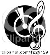 Clipart Of A Black And White Vinyl Record With A Music Note Royalty Free Vector Illustration by Vector Tradition SM