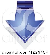 Clipart Of A Blue Download Arrow And Shadow Royalty Free Vector Illustration