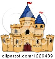 Clipart Of A Fantasy Castle With Blue Turrets Royalty Free Vector Illustration